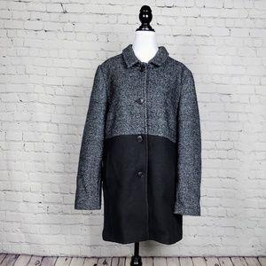 Land's End - Grey & Black Wool Blend Coat